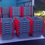 Strong plastic crates for hire